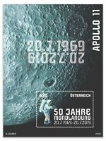 Austria 2019 Moon Landing 50th Anniversary Stamp Mini Sheet Glow In The Dark MUH