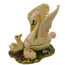 Swan Family Jeweled Trinket Box Figurine