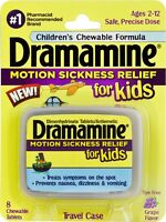 Dramamine Children's Chewable Tablets, Motion Sickness 8 Chewable Grape Tablets
