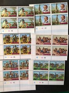 MNH Zambia 1973 Livingstone Cent set in plate marginal blocks 4 Mi # 102-07