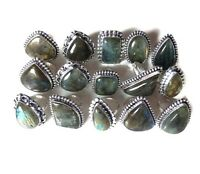 Wholesale !! Lot 20Pcs. Natural Labradorite 925 Sterling Silver Plated Ring