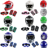 DOT Youth Kids Dirt Bike Off Road ATV Full Face Helmet Motocross Goggles+Gloves