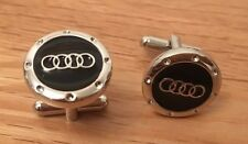 GENTS ENAMELED AUDI WHITE GOLD PLATED CUFFLINKS