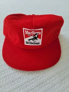 NOS Vintage Rare Marlboro Corduroy Ski Challenge Red Cigarette Hat Snapback Cap