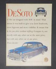 Original Print Ad 1949 DESOTO DE SOTO Auto Car Sedan No Shifting