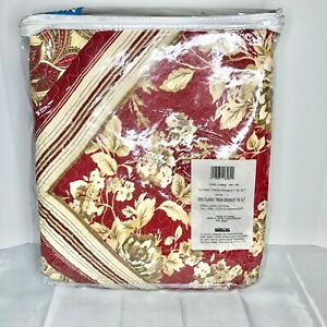 Classic Treasures Bromley Twin Quilt Burgundy Brown Ivory Paisley Floral NIP