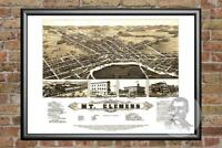 Old Map of Mt. Clemens, MI from 1881 - Vintage Michigan Art, Historic Decor
