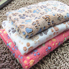 Coral Cashmere Soft Blanket Bed Cushion Pet Small Large Paw Print Cat Dog Puppy