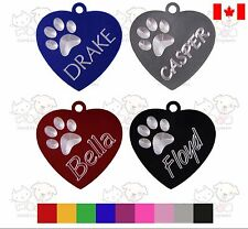 PET TAG DOG HEART CUSTOM ENGRAVED PAW NAME ON FRONT DETAILS ON BACK WITH RING