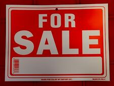 10 PCS .. 9 x 12 INCH RED & WHITE WATERPROOF SIGN *FOR SALE* SIGN !! WRITE ON !!