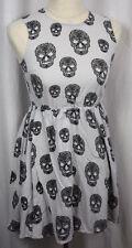 Divided Womens Grey Black Skull Sleeveless Back Zip 100% Cotton Dress Size 4