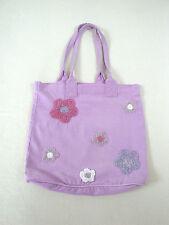 Pretty little FLORAL embellished beaded MAUVE cotton shoulder bag