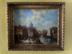 """OIL Painting ON PANEL.Dutch Canal Scene.Signed H.Schrofer. 25"""" X 21 1/2 """""""