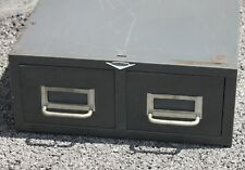 Cole Steel Two Drawer Vtg Index Card Stackable Metal File Cabinet Storage Gray