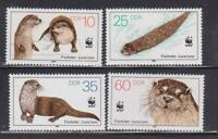 DDR385 - EAST GERMANY DDR 1987 OTTERS WWF ANIMALS MNH