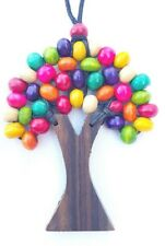 Tree of Life Necklace Natural Wood Beads Funky Bright Mixed Colours Rainbow .