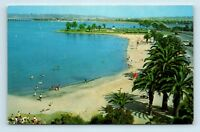 San Diego, CA - AERIAL VIEW OF MISSION BAY PARK - BATHERS & OLD CARS - POSTCARD