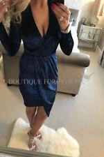 UK Womens Ladies Evening Party Crush Velvet Plunge Faux Wrap Midi Dress 6 - 14