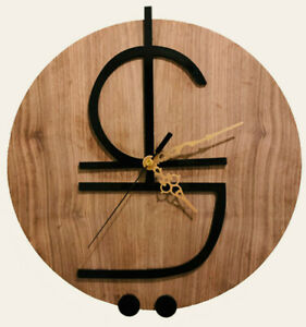 Calligraphy Art ALI Wall Clock Glossy Black on Walnut Wood, Decent Style Decor 2