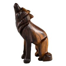 """Unique Hand Carved Ironwood Wolf Sitting Howling Figurine Wood Carving 4"""" High"""