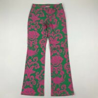 """Lilly Pulitzer Women Green Pink Paisley Bootcut Jeans Pants sz 2 (Actual 27x30"""")"""