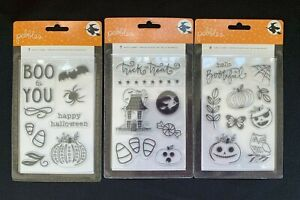 Lot of 3 Pebbles Halloween Midnight Haunting Acrylic Stamp Sets