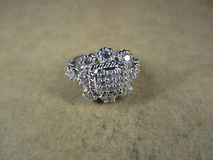 Judith Ripka Sterling Silver & CZ Ring, Thailand, Size 5.75, 8.5g
