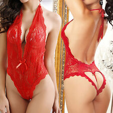 Sexy Women Plus V-neck Babydoll Night Sleepwear Lace Lingerie Dress Underwear AU