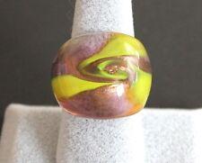 Glasring Ring aus Glas Lampwork Gr 18 zartlila handgearbeitet Glitzer Neu (6)