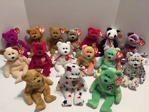 TY Beanie Baby Babies COLLECTION of 16 ALL BEARS PEACE VALENTINO TY 2K++