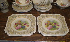 Vintage CROWN DUCAL FLORENTINE ~ 4 Square Salad/Luncheon Plates