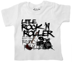 """Rock Baby T-Shirt """"Little Rock 'N Roller"""" Tee Music Guitar Drums"""
