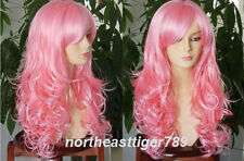 Hot Sell Fashion New Long Pink Curly Women's Lady's Hair Wig Wigs + Cap