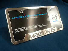 NEW OEM MAZDA 6 BRUSHED STAINLESS STEEL LICENSE PLATE FRAME