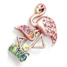 Pink Flamingo Swarovski Crystalized Brooch by Rucinni
