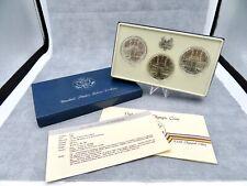 1984 Olympic Silver Dollar 3 Coin Set with box and COA