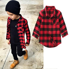 UK Baby Kids Boy Girl Long Sleeve T Shirt Checks Tops Blouse Clothes Outfit 1-7Y