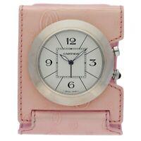 Cartier 3023 Pasha Pink Leather Holder Case Quartz Alarm Table Deck Travel Clock
