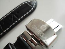 NEW WATCH STRAP Genuine Leather 22mm OMEGA Black SEAMASTER SPEEDMASTER + GIFT