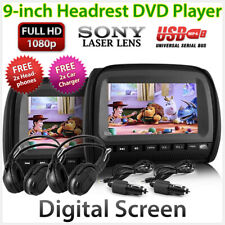 "Black 9"" Headrest Pair DVD Player Car Monitor Pillow Games USB 1080p Sony Lens P"