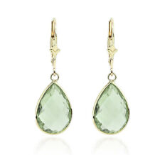 14K Yellow Gold Pear Shaped Earrings With Green Amethyst