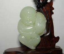 "2.3""China Certified Nature Hetian Nephrite Jade Fortune Lad and Corn Pendants"