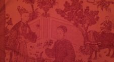BRUNSCHWIG & FILS Cathay Toile Chinoiserie Cotton France Brick Red Remnant New