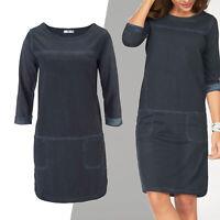 hübsches Sweatkleid Kleid Gr.36/38 S/M SHIRTKLEID Blau jeansblau