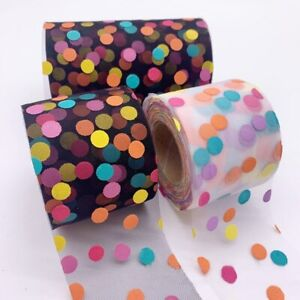 5yards 60mm Colorful Dots Organza Stain Ribbon for DIY Crafts Hair Accessories