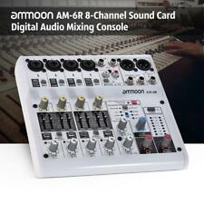 8-Channel Digital Audio Mixer Console White for Recording DJ Live Broadcast T7B1