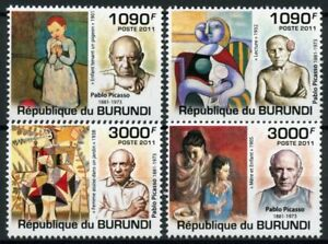 Burundi Art Stamps 2011 MNH Pablo Picasso Paintings Famous People 4v Set