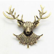 Unisex Animal Collar Brooch Pin Clip Cute Deer Antlers Head Pins Brooches ZY Bronze