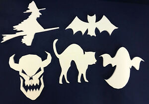 100 POLYSTYRENE WHITE HALLOWEEN IN HD 5 DESIGNS 200MM HEIGHT 10MM THICK
