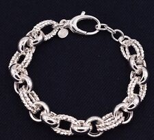 Bold Diamond Cut Rolo Link Bracelet Shiny Polished Real 925 Sterling Silver